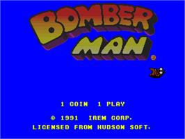 Title screen of Bomber Man on the Arcade.