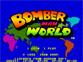 Title screen of Bomber Man World / New Dyna Blaster - Global Quest on the Arcade.