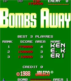 Title screen of Bombs Away on the Arcade.