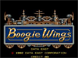 Title screen of Boogie Wings on the Arcade.