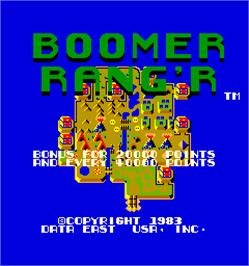 Title screen of Boomer Rang'r / Genesis on the Arcade.