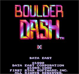 Title screen of Boulder Dash / Boulder Dash Part 2 on the Arcade.