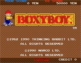 Title screen of Boxy Boy on the Arcade.