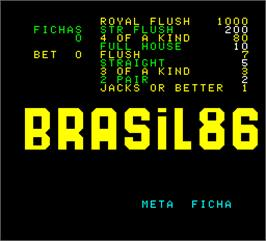 Title screen of Brasil 86 on the Arcade.