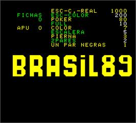 Title screen of Brasil 89 on the Arcade.