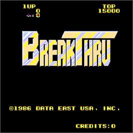 Title screen of Break Thru on the Arcade.