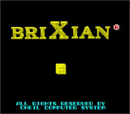 Title screen of Brixian on the Arcade.