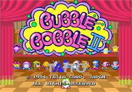 Title screen of Bubble Bobble II on the Arcade.