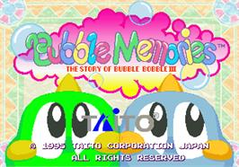 Title screen of Bubble Memories: The Story Of Bubble Bobble III on the Arcade.