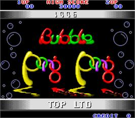 Title screen of Bubble Pong Pong on the Arcade.