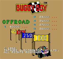 Title screen of Buggy Boy Junior/Speed Buggy on the Arcade.