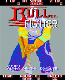 Title screen of Bull Fighter on the Arcade.