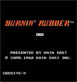 Title screen of Burnin' Rubber on the Arcade.