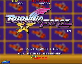 Title screen of Burning Force on the Arcade.