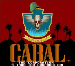 Title screen of Cabal on the Arcade.