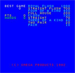 Title screen of Cal Omega - Game 12.8 on the Arcade.