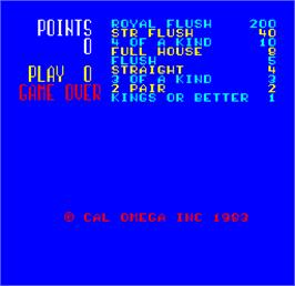 Title screen of Cal Omega - Game 17.2 on the Arcade.