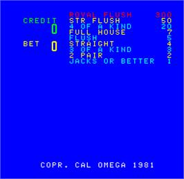 Title screen of Cal Omega - Game 17.51 on the Arcade.