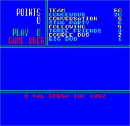 Title screen of Cal Omega - Game 18.5 on the Arcade.
