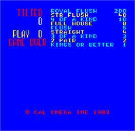 Title screen of Cal Omega - Game 20.8 on the Arcade.