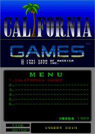 Title screen of California Games on the Arcade.