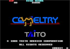 Title screen of Cameltry on the Arcade.