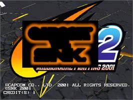 Title screen of Capcom Vs. SNK 2 Millionaire Fighting 2001 on the Arcade.