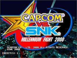 Title screen of Capcom Vs. SNK Millennium Fight 2000 on the Arcade.