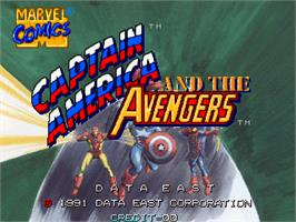 Title screen of Captain America and The Avengers on the Arcade.