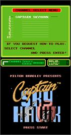 Title screen of Captain Sky Hawk on the Arcade.