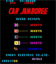 Title screen of Car Jamboree on the Arcade.