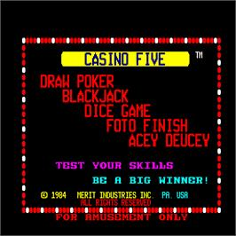Title screen of Casino Five on the Arcade.