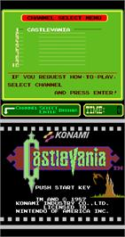 Title screen of Castlevania on the Arcade.