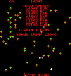 Title screen of Centipede on the Arcade.