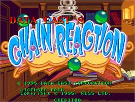 Title screen of Chain Reaction on the Arcade.
