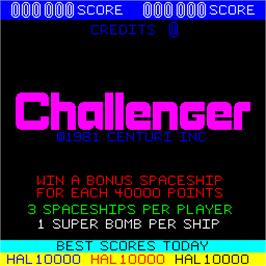 Title screen of Challenger on the Arcade.