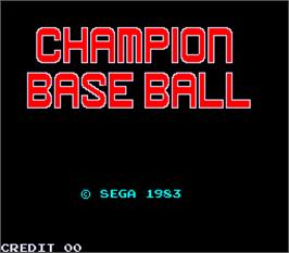 Title screen of Champion Base Ball on the Arcade.