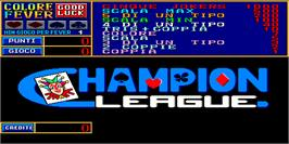 Title screen of Champion League on the Arcade.