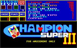 Title screen of Champion Super 3 on the Arcade.