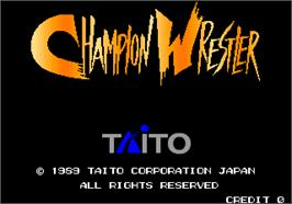 Title screen of Champion Wrestler on the Arcade.