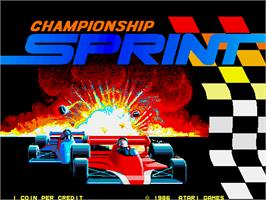 Title screen of Championship Sprint on the Arcade.