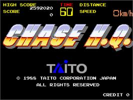 Title screen of Chase H.Q. on the Arcade.