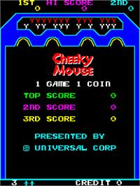Title screen of Cheeky Mouse on the Arcade.
