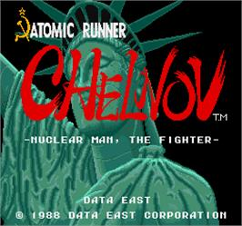 Title screen of Chelnov - Atomic Runner on the Arcade.