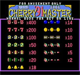 Title screen of Cherry Master '91 on the Arcade.