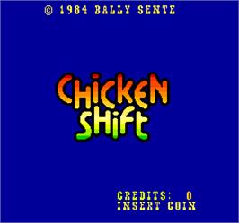 Title screen of Chicken Shift on the Arcade.