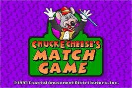 Title screen of ChuckECheese's Match Game on the Arcade.