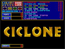 Title screen of Ciclone on the Arcade.