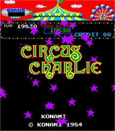 Title screen of Circus Charlie on the Arcade.