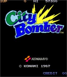 Title screen of City Bomber on the Arcade.